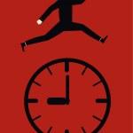Businessman Jump Time — Stock Vector