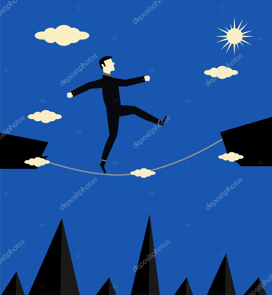 Businessman Walk Risk — Stock Vector #10972380