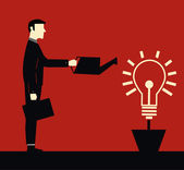Businessman idea Watering — Stock Vector