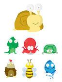 Animal Set Slug, Crocodile,Octopus,Turtle,Chicken,Bee Fish — Stock Vector