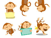 Monkey set — Stock Vector