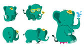 Cute Elephant Set — Stock Vector