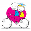 Stock Vector: Couple Bicycle