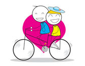 Couple Bicycle — Stock Vector