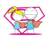 Super hombre y mujer — Vector de stock