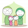 Stock Vector: Moslem family