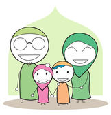 Moslem family — Vector de stock