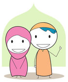 Muslim kids — Vector de stock