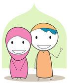 穆斯林的孩子 — 图库矢量图片