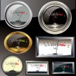 Set of 6 different vu meters — Vector de stock #10750323