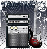 Guitar Combo music background — Stock Vector