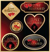 Etiquetas de oro recién casadas — Vector de stock
