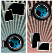 Lens and old photo frame on retro background — Stock Vector