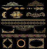 Gold calligraphic design elements — Stock Vector