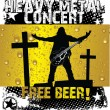 Heavy metal concert - free beer — Stock Vector