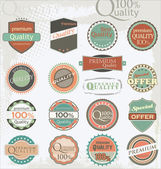 Set of vintage retro premium quality labels — Vettoriale Stock