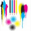 CMYK splatters. pencils and halftones — Stock Vector