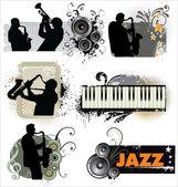 Grunge Jazz banners — Stockvektor