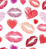 Seamless pattern with lips and hearts — Stock Vector