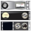 Technology banner with VU meter and volume knob set - Imagens vectoriais em stock