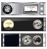 Technology banner with VU meter and volume knob set — 图库矢量图片