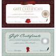 Vector Gift Certificate And Ornaments — Stock Vector