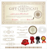 Vector Gift Certificate and Ornaments — Stockvektor