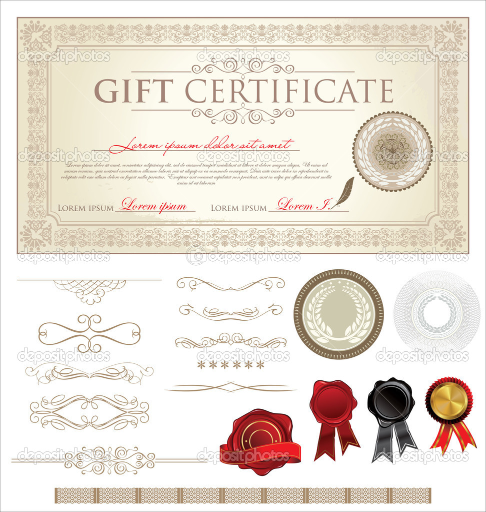 Vector Gift Certificate And Ornaments Stock Vector