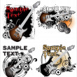 Grunge music banner set - Stock Vector