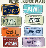 Retro license plates vector illustration — Stock Vector