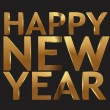 Happy New Year 3d gold - vector illustration - Stock Vector