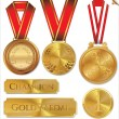 Vector illustration of gold medal set — Stock Vector