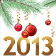 Christmas background with balls and decorations with 3d text 2013 - Stock Vector