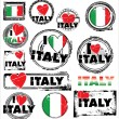 I Love Italy Ink Rubber Stamp Set vector — Stock Vector