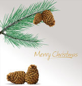 Pine branch with cones Christmas background — 图库矢量图片