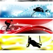 5 Sports banner with five brilliant colors - Stock Vector