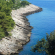 Rocky cove landscape in Korcula, Croatia — Stock Photo