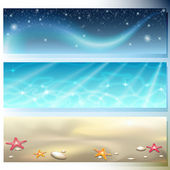 Banner with sky, sea and sand — Stock Vector