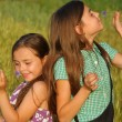 Two young girls playing outdoor — Stock Photo