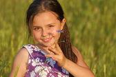 Młode dziewczyny gry odkryty — Zdjęcie stockowe