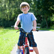 Boy with a bicycle — Stok fotoğraf