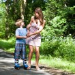 Boy on rollerblades — Stock Photo
