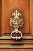The ancient style carved knocker of the door — Stock Photo