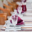 Served table with wineglass in ukrainian restaurant — Stock Photo