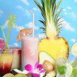 Stock Photo: Fruits and drinks
