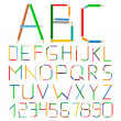 Stock Vector: Colored Pencils Alphabet