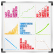 Whiteboard with different graphs and charts — Stock Vector
