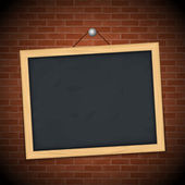 Blackboard on brick wall — Stock Vector