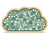 Blackboard Cloud with Icons — Stock Vector