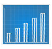 Blueprint Bar Graph — Stock Vector